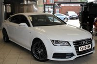 USED 2012 12 AUDI A7 3.0 TDI QUATTRO S LINE 5d 204 BHP BLACK HEATED LEATHER SEATS + AUDI SERVICE HISTORY + SAT NAV + BLUETOOTH + 20 INCH ALLOYS + ELECTRIC TAILGATE + CRUISE + XENONS + HEADS UP DISPLAY.