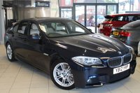 USED 2012 12 BMW 5 SERIES 2.0 520D M SPORT 4d AUTO 181 BHP FULL OYSTER CREAM LEATHER SEATS + FULL SERVICE HISTORY + SAT NAV + BLUETOOTH + PARKING SENSORS + HEATED SEATS + 18 INCH ALLOYS