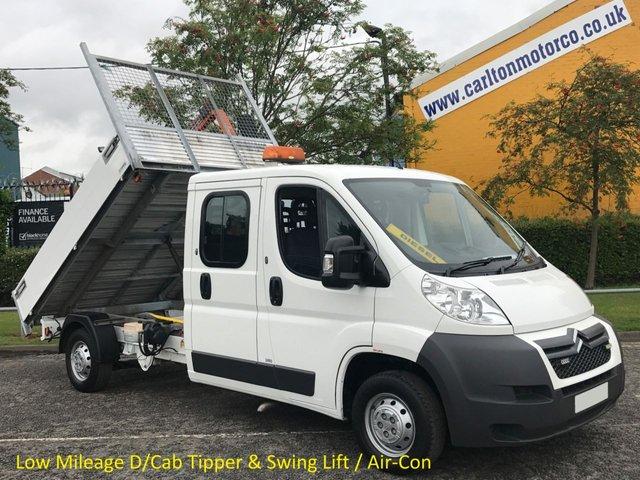 2012 12 CITROEN RELAY 35 L3 HDI 130 D/Cab 7s Tipper A/Con Low Mileage Alloy Body+Swing Lift Crane