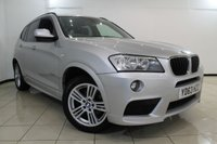 USED 2013 63 BMW X3 2.0 XDRIVE20D M SPORT 5DR AUTOMATIC 181 BHP SERVICE HISTORY + LEATHER SEATS + PARKING SENSOR + BLUETOOTH + CRUISE CONTROL + MULTI FUNCTION WHEEL + 18 INCH ALLOY WHEELS
