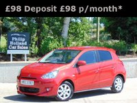 """USED 2014 MITSUBISHI MIRAGE 1.2 3 5d AUTO 79 BHP GREAT SPEC, FRONT AND REAR PARKING SENSORS, KEYLESS, 14""""  ALLOYS, AUTO"""