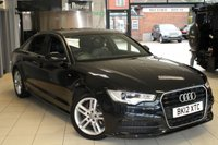 USED 2012 12 AUDI A6 2.0 TDI S LINE 4d 175 BHP FULL LEATHER SEATS + SAT NAV + BLUETOOTH + CRUISE CONTROL + RAIN SENSORS + XENONS + 18 INCH ALLOYS + PADDLE GEAR SHIFT + PARKING SENSORS