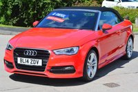USED 2014 14 AUDI A3 CABRIOLET 2.0 TDI S LINE 2d 148 BHP ****STUNNING EXAMPLE****