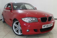 USED 2008 08 BMW 1 SERIES 1.6 116I M SPORT 3DR 121 BHP SERVICE HISTORY + AIR CONDITIONING + PARKING SENSOR + MULTI FUNCTION WHEEL + M SPORT PACKAGE + ALLOY WHEELS