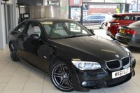 USED 2011 61 BMW 3 SERIES 2.0 320D M SPORT 2d 181 BHP BMW SERVICE HISTORY +  FULL OYSTER CREAM LEATHER SEATS + 19 INCH ALLOYS + XENONS + CRUISE CONTROL + REAR PARKING SENSORS + PARROT HANDS FREE KIT + AIR CONDITIONING