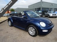 USED 2004 04 VOLKSWAGEN BEETLE 1.9 CABRIOLET TDI 2d 99 BHP 2 PREVIOUS OWNERS MOT APRIL 2018 SERVICE STAMPS 14910mls, 27533 mls, 43352 mls, 67181 mls, With contrasting charcoal trim, air conditioning, electric convertible roof, 3 spoke leather and aluminium steering wheel, radio stereo CD player, centre arm rest with storage, heated door mirrors, ESP traction control, remote boot release, cup holders, headlamp son adjust, switchable air bag, manual pack, over mats, rear head restraints, rear ski load.