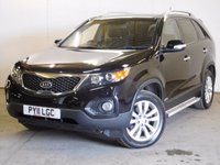 USED 2011 11 KIA SORENTO 2.2 CRDI KX-3 5d 195 BHP 7 SEATER SAT NAV PAN ROOF LEATHER ONE OWNER 4WD. 7 SEATER. SATELLITE NAVIGATION. PANORAMIC SUNROOF. STUNNING BLACK MET WITH FULL BLACK LEATHER TRIM. ELECTRIC HEATED SEATS. CRUISE CONTROL. SIDE STEPS. 18 INCH ALLOYS. COLOUR CODED TRIMS. PRIVACY GLASS. PARKING SENSORS. REVERSING CAMERA. BLUETOOTH PREP. CLIMATE CONTROL. TRIP COMPUTER. R/CD PLAYER. 6 SPEED MANUAL. MFSW. MOT 07/18. ONE OWNER FROM NEW. FULL SERVICE HISTORY. PRISTINE CONDITION. FCA FINANCE APPROVED DEALER. TEL 01937 849492