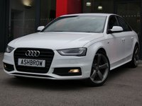 USED 2014 14 AUDI A4 2.0 TDI S LINE BLACK EDITION 4d 177 S/S UPGRADE TECHNOLOGY PACK INCLUDING AUDI MUSIC INTERFACE FOR IPOD/USB DEVICES (AMI) DVD PLAYER MMI NAVIGATION PLUS & VOICE DIALOGUE SYSTEM, ED XENON LIGHTS, FRONT & REAR PARKING SENSORS, FRONT FOG LIGHTS, 19 INCH ROTOR WHEELS, LEATHER FLAT BOTTOM MULTI FUNCTION STEERING WHEEL, DAB RADIO, BLUETOOTH PHONE & MUSIC STREAMING, BANG & OLUFSEN SOUND SYSTEM, WIRELESS LAN CONNECTION (WLAN), CRUISE CONTROL, LIGHT & RAIN SENSORS WITH AUTO DIMMING REAR VIEW MIRROR, BLACK 1/2 LEATHER INTERIOR, SPORT SEATS