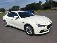 USED 2014 14 MASERATI GHIBLI 3.0 DV6 4d AUTO 275 BHP ONE OWNER IN WHITE WITH FULL BLACK LEATHER ONLY 34000 MILES BACKED UP BY FULL MASERATI SERVICE HISTORY
