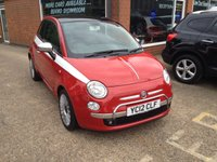 USED 2012 12 FIAT 500 0.9 LOUNGE 3d 85 BHP FULL BLACK LEATHER INTERIOR IN BRIGHT RED WITH WHITE SIDE STRIPS APPROVED CARS ARE PLEASED TO OFFER THIS FIAT 500 0.9 LOUNGE 3 DOOR 85 BHP FULL BLACK LEATHER INTERIOR IN BRIGHT RED WITH WHITE SIDE STRIPS AND A GREAT SPEC INCLUDING A FULL LEATHER INTERIOR,AIR CON,2 KEYS,ALLOY WHEELS,CD,E/WINDOWS,P/STEERING,PANORAMIC ROOF,REVERSE SENSORS,CHROME BONNET STRIP AND MIRRORS ALONG WITH A FULL SERVICE HISTORY SERVICED AT 12K,24K,45K AND 57K ALL AT FIAT PICCADILLY MAIN DEALER A TRULY GREAT CAR.