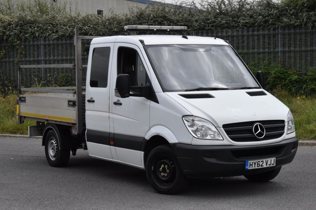 2012 62 MERCEDES-BENZ SPRINTER 2.1 313 CDI D/C MWB 4d 129 BHP 3 SEATER DIESEL AUTOMATIC TIPPER ONE OWNER FULL/SH SPARE KEY
