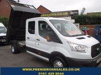 2015 FORD TRANSIT  NEW SHAPE  350 L3 DOUBLE CAB TIPPER TURBO DIESEL 125 psi   !!   SEVEN SEATER !!    LOW LOW MILES  13.000 MILES   FORD REMAIN WARRANTY  2018   £16500.00