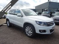 USED 2014 14 VOLKSWAGEN TIGUAN 2.0 MATCH TDI BLUEMOTION TECHNOLOGY 5d 139 BHP 1 PREVIOUS KEEPER 2 SERVICE STAMPS 18648mls, 26641mls MOT FEB 2018 With contrasting Alcantara sports trim, satellite navigation, radio stereo CD player, 6 speed gearbox, multi-function steering leather wheel, auto gold cup holders, storage pack, media in socket, Iso-fix to rear, air conditioned glove box, switchable passenger air bag, automatic headlights, multi-spoke sports alloy wheels, park distance control, winter mats, load cover, locking nuts, ski load through, LED Lights, roof bars,