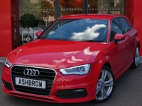 USED 2014 14 AUDI A3 SPORTBACK 2.0 TDI S LINE 5d 150 S/S DAB RADIO, AUDI MUSIC INTERFACE FOR IPOD / USB DEVICES (AMI), BLUETOOTH PHONE & MUSIC STREAMING, LED XENON LIGHTS, FRONT FOG LIGHTS, 18 INCH TWIN 5 SPOKE ALLOYS, PRIVACY GLASS, BLACK 1/2 LEATHER INTERIOR, LEATHER FLAT BOTTOM MULTI FUNCTION STEERING WHEEL, SPORT SEATS, DUAL CLIMATE AIR CON, AUDI DRIVE SELECT, 1 OWNER FROM NEW, FULL SERVICE HISTORY, £20 ROAD TAX