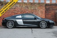 "USED 2016 16 AUDI R8 5.2 V10 QUATTRO 2d AUTO 533 BHP MYTHOS BLACK METALLIC WITH SIDE BLADES IN ICE SILVER METALLIC. BLACK FINE NAPPA LEATHER. 19"" 5 ARM TWIN SPOKE FORGED ALLOY WHEELS IN MATT TITANIUM AND DIAMOND CUT FINISH."