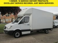 USED 2013 63 MERCEDES-BENZ SPRINTER 2.1 313CDI LUTON BOX LWB. TAIL-LIFT. 129 BHP. 1 OWNER. PX LOW RATE FINANCE. CHOICE OF 3. FSH. WARRANTY. PX