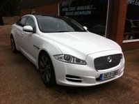 USED 2013 13 JAGUAR XJ 3.0 D V6 PORTFOLIO 4d AUTO 275 BHP ONLY 34K MILES IN WHITE APPROVED CARS ARE PLEASED TO OFFER THIS JAGUAR XJ 3.0 D V6 PORTFOLIO 4d AUTO 275 BHP ONLY 34K MILES IN WHITE WITH BLACK LEATHER WITH WHITE PIPING AND A GREAT SPEC INCLUDING PANORAMIC ROOF,20 INCH ALLOYS,PRIVACY GLASS,BLIND SPOT MONITOR AND MUCH MORE ALONG WITH A FULL JAGUAR MAIN DEALER SERVICE HISTORY SERVICED AT 12K,14K,27K AND 33K A STUNNING CAR IN WHITE WITH A GREAT SERVICE HISTORY.