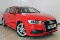 USED 2014 14 AUDI A3 2.0 SPORTBACK TDI S LINE 5DR 182 BHP FULL AUDI SERVICE HISTORY + HALF LEATHER SEATS + AIR CONDITIONER + BLUETOOTH + DAB RADIO + MULTIFUNCTIONING WHEEL + 18 INCH ALLOY WHEELS