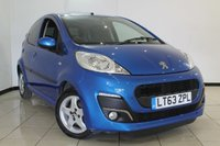 USED 2013 63 PEUGEOT 107 1.0 ALLURE 5DR 68 BHP FULL SERVICE HISTORY + AIR CONDITIONING + BLUETOOTH + RADIO/CD + AUXILIARY PORT + 14 INCH ALLOY WHEELS