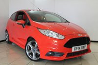 USED 2014 14 FORD FIESTA 1.6 ST-2 3DR 180 BHP HALF LEATHER SPORT SEATS + AIR CONDITIONING + BLUETOOTH + MULTI FUNCTION WHEEL + RADIO/CD + 17 INCH ALLOY WHEELS