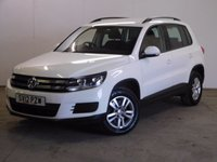 USED 2012 12 VOLKSWAGEN TIGUAN 2.0 S TDI BLUEMOTION TECHNOLOGY 4MOTION 5d 138 BHP ONE OWNER FSH 4WD FACELIFT MODEL. STUNNING WHITE WITH BLACK CLOTH TRIM. HEATED SEATS. 16 INCH ALLOYS. COLOUR CODED TRIMS. MULTIMEDIA SCREEN. CLIMATE CONTROL. TRIP COMPUTER. R/CD/MP3 PLAYER. 6 SPEED MANUAL. MOT 02/18. ONE OWNER FROM NEW. FULL SERVICE HISTORY. PRISTINE CONDITION. FCA FINANCE APPROVED DEALER. TEL: 01937 849492.