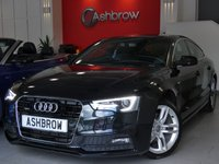 USED 2013 63 AUDI A5 SPORTBACK 2.0 TDI QUATTRO S LINE 5d AUTO 177 S/S UPGRADE TECHNOLOGY PACK HIGH INCLUDING PARKING SYSTEM PLUS FRONT & REAR WITH DISPLAY AUDI MUSIC INTERFACE (AMI) VOICE DIALOGUE SYSTEM DVD PLAYER & MMI NAVIGATION PLUS (HDD WITH JUKEBOX), DAB RADIO, BLUETOOTH PHONE & MUSIC STREAMING, WIRELESS LAN CONNECTION (WLAN),  LED XENON LIGHTS FRONT FOG LIGHTS, 18 INCH TWIN 5 SPOKE ALLOYS, FULL BLACK LEATHER, LEATHER MULTIFUNCTION TIPTRONIC STEERING WHEEL, LIGHT & RAIN SENSORS, CRUISE CONTROL, 1 OWNER FROM NEW, QUATTRO 4x4