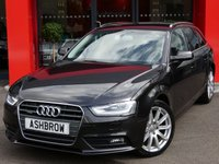 USED 2014 14 AUDI A4 AVANT 2.0 TDI QUATTRO SE TECHNIK 5d AUTO 177 S/S UPGRADE HEATED FRONT SEATS, UPGRADE ADAPTIVE XENON PLUS HEADLIGHTS W/ LED DRL + LED TAIL LIGHTS, UPGRADE LED INTERIOR LIGHT PACK (FOOTWELL LIGHTS), UPGRADE ELECTRIC POWER FOLDING AUTO DIMMING HEATED DOOR MIRRORS, UPGRADE PRIVACY GLASS, HDD SAT NAV WITH DVD PLAYBACK & JUKEBOX, FULL BLACK LEATHER, BLUETOOTH W/ AUDIO STREAMING, CRUISE, DAB, WLAN, AUDI MUSIC INTERFACE FOR IPOD / USB, ELECTRIC TAILGATE, FRONT & REAR PARKING SENSORS W/ DISPLAY, ALUMINIUM ROOF RAILS, 18 INCH 10 SPOKE ALLOYS, VAT Q