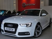 USED 2013 13 AUDI A5 2.0 TDI S LINE BLACK EDITION 2d 177 S/S UPGRADE DE-BADGE FEATURE, UPGRADE BLACK STYLING PACK, AUDI MUSIC INTERFACE (AMI,) BANG & OLUFSEN SOUND SYSTEM, PRIVACY GLASS, DAB RADIO, BLUETOOTH PHONE, LED XENON LIGHTS, FRONT FOG LIGHTS, HEADLAMP WASHERS, 19 INCH ROTOR ALLOYS, FULL BLACK LEATHER, SPORT SEATS, LEATHER FLAT BOTTOM MULTI FUNCTION STEERING WHEEL, LIGHT & RAIN SENSORS WITH AUTO DIMMING REAR VIEW MIRROR, CRUISE CONTROL, 1 OWNER FROM NEW, FULL SERVICE HISTORY, £30 ROAD TAX (120 G/KM)