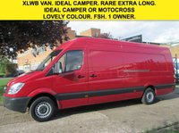 USED 2013 13 MERCEDES-BENZ SPRINTER 2.1 313CDI XLWB HIGH ROOF 129 BHP. 1 OWNER. 4.7MTR VAN. PX 1 OWNER. 5 SERVICES. LOW RATE FINANCE. PX WELCOME. FSH.