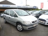 USED 2005 VAUXHALL ZAFIRA 1.6 LIFE 16V 5d 99 BHP NEED FINANCE? WE CAN HELP. WE STRIVE FOR 94% ACCEPTANCE