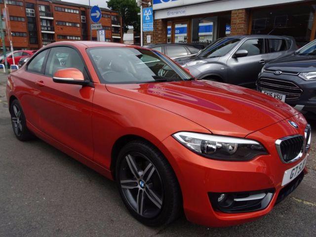 2015 65 BMW 2 SERIES 1.5 218I SPORT 2d AUTO 134 BHP  VALENCIA ORANGE/BEIGE LEATHER