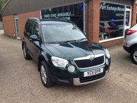 USED 2011 11 SKODA YETI 2.0 SE TDI CR 4X4 5 DOOR 109 BHP ONLY 44K MILES IN MET GREEN APPROVED CARS ARE PLEASED TO OFFER THIS SKODA YETI 2.0 SE TDI CR 4X4 5 DOOR 109 BHP WITH ONLY 44K MILES IN MET GREEN THIS CAR IS 4X4 AND HAS A FULL SERVICE HISTORY AND A GREAT SPEC INCLUDING  2 KEYS,6 SPEED GEARBOX,ABS,AIR CON,ALARM,ALLOYS,CD,CD MULTI CHANGER,C/LOCKING,CRUISE CONTROL,E/WINDOWS,HEADLIGHT WASHERS,FRONT AND REAR PARKING SENSORS,POWER STEERING,PRIVACY GLASS,HEATED SEATS AND ACTIVE PARKING ASSIST.