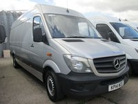 USED 2014 14 MERCEDES-BENZ SPRINTER 2.1 313CDI LWB HIGH ROOF 129 BHP FACELIFT. SILVER. 1 OWNER. FSH. LOW RATE FINANCE. PARKING SENSORS. PX