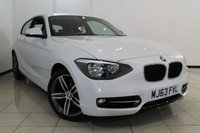 USED 2013 63 BMW 1 SERIES 2.0 116D SPORT 3DR 114 BHP AIR CONDITIONING + BLUETOOTH + MULTI FUNCTION WHEEL + CRUISE CONTROL + 17 INCH ALLOY WHEELS