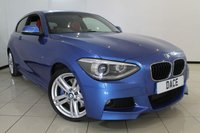 USED 2014 14 BMW 1 SERIES 2.0 125D M SPORT 3DR AUTOMATIC 215 BHP LEATHER SEATS + SAT NAVIGATION + PARKING SENSOR + BLUETOOTH + CRUISE CONTROL + 18 INCH ALLOY WHEELS