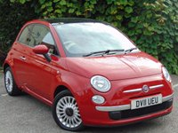 USED 2011 11 FIAT 500 1.2 LOUNGE 3d  **RED LEATHER INTERIOR**