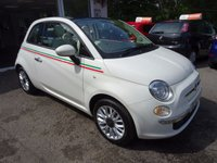 USED 2014 14 FIAT 500 1.2 CONVERTIBLE LOUNGE 3d 69 BHP Low Mileage, Full Service History (Fiat + ourselves), MOT until August 2018 (no advisories), One Lady Owner from new, Great on fuel! Only £30 Road Tax!