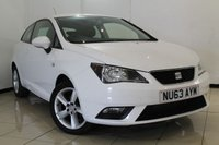 USED 2013 63 SEAT IBIZA 1.4 TOCA 3DR 85 BHP AIR CONDITIONING + RADIO/CD + ELECTRIC WINDOWS + ELECTRIC MIRRORS + 15 INCH ALLOY WHEELS
