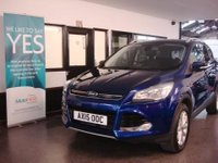 "USED 2015 15 FORD KUGA 2.0 TITANIUM TDCI 5d 148 BHP This Kuga is finished in Metallic Imperial Blue with Black leather / cloth seats. It is fitted with Ford SYNC Bluetooth, power steering, remote locking, electric windows, mirrors and front seats, climate control, cruise control, front & rear parking sensors, heated front screen, key less start, 17"" alloys, CD stereo with Aux port and more. It has had 2 private owners. It comes with a full ford service history consisting of 2 stamps, done at 11136/21500 miles."