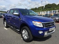 USED 2013 63 FORD RANGER 2.2 LIMITED 4X4 DCB TDCI 1d 148 BHP Black heated leather, rear hard back, tow pack, Bluetooth & more. Plus VAT