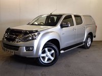 USED 2014 14 ISUZU D-MAX 2.5 TD YUKON DCB 1d 164 BHP CANOPY SIDE STEPS PRIVACY ONE OWNER FSH HARDTOP CANOPY. STUNNING SILVER MET WITH GREY CLOTH TRIM. SIDE STEPS. CRUISE CONTROL. AIR CON. 17 INCH ALLOYS. COLOUR CODED TRIMS. PRIVACY GLASS. BLUETOOTH PREP. PAS. EW. 6 SPEED MANUAL. MFSW. TOWBAR. MOT 08/18. ONE OWNER FROM NEW. FULL SERVICE HISTORY. FCA FINANCE APPROVED DEALER. TEL 01937 849492