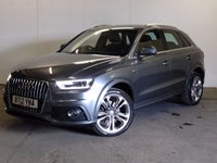 USED 2012 12 AUDI Q3 2.0 TDI QUATTRO S LINE 5d 138 BHP SAT NAV LEATHER 19 ALLOYS START/STOP 4WD. SATELLITE NAVIGATION. STUNNING GREY MET WITH PART BLACK LEATHER TRIM. CRUISE CONTROL. 19 INCH UPGRADED ALLOYS. COLOUR CODED TRIMS.PARKING SENSORS. START/STOP SYSTEM. BLUETOOTH PREP. MULTI MEDIA SCREEN. CLIMATE CONTROL. TRIP COMPUTER. R/CD/MP3 PLAYER. 6 SPEED MANUAL. MFSW. MOT 08/18. ONE PREV OWNER. FULL SERVICE HISTORY. PRISTINE CONDITION. FCA FINANCE APPROVED DEALER. TEL 01937 849492.