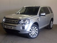 USED 2014 14 LAND ROVER FREELANDER 2 2.2 TD4 XS 5d 150 BHP FACELIFT SAT NAV LEATHER PRIVACY  4WD. FACELIFT MODEL. SATELLITE NAVIGATION. STUNNING SILVER MET WITH FULL BLACK LEATHER TRIM. HEATED SEATS. CRUISE CONTROL. 17 INCH ALLOYS. COLOUR CODED TRIMS. PRIVACY GLASS. PARKING SENSORS. BLUETOOTH PREP. CLIMATE CONTROL. TRIP COMPUTER. R/CD PLAYER. 6 SPEED MANUAL. MFSW. TOWBAR. MOT 04/18. ONE PREV OWNER. FULL SERVICE HISTORY. PRISTINE CONDITION. FCA FINANCE APPROVED DEALER. TEL 01937 849492.