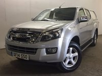 USED 2014 14 ISUZU D-MAX 2.5 TD YUKON DCB 1d 164 BHP CANOPY SIDE STEPS PRIVACY ONE OWNER NO FINANCE REPAYMENTS FOR 2 MONTHS STC. (COMMERCIAL 11400+2280VAT). HARDTOP CANOPY. STUNNING SILVER MET WITH GREY CLOTH TRIM. SIDE STEPS. CRUISE CONTROL. AIR CON. 17 INCH ALLOYS. COLOUR CODED TRIMS. PRIVACY GLASS. BLUETOOTH PREP. PAS. EW. 6 SPEED MANUAL. MFSW. TOWBAR. MOT 08/18. ONE OWNER FROM NEW. SERVICE HISTORY. FCA FINANCE APPROVED DEALER. TEL 01937 849492