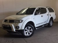USED 2011 11 MITSUBISHI L200 2.5 DI-D 4X4 BARBARIAN LB DCB 1d 175 BHP HARDTOP CANOPY SAT NAV LEATHER NO VAT NOW SOLD. ( NO VAT ). 4WD. SATELLITE NAVIGATION. HARDTOP CANOPY. STUNNING WHITE WITH FULL BLACK BARBARIAN LEATHER TRIM. RUNNING BOARDS. CRUISE CONTROL. AIR CON. 17 INCH ALLOYS. COLOUR CODED TRIMS. PRIVACY GLASS. PAS. EW. MFSW. TOWBAR. MOT 08/18. ONE PREV OWNER. SERVICE HISTORY. FCA FINANCE APPROVED DEALER. TEL 01937 849492
