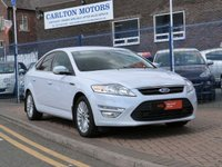 USED 2014 14 FORD MONDEO 1.6 ZETEC BUSINESS EDITION TDCI 5d  WHITE PEARLESCENT ~ SAT NAV ~ £20 TAX ~ CRUISE CONTROL ~ BLUETOOTH ~ FULL SERVICE HISTORY ~ PRIVACY GLASS