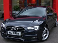 USED 2013 63 AUDI A5 SPORTBACK 2.0 TDI S LINE 5d AUTO 150 S/S FULL SERVICE HISTORY, UPGRADE HEATED FRONT SEATS, UPGRADE TECH PACK HIGH - UPGRADE MMI NAV PLUS (HDD NAV W/ JUKEBOX), UPGRADE PARKING SYSTEM PLUS (FRONT + REAR SENSORS W/ DISPLAY), UPGRADE AUDI MUSIC INTERFACE FOR IPOD / USB, UPGRADE VOICE DIALOGUE SYSTEM, UPGRADE ELECTRIC POWER FOLDING HEATED DOOR MIRRORS, CRUISE, DAB, BLUETOOTH W/ AUDIO STREAMING, WLAN, FULL BLACK LEATHER, BI XENONS W/ LED DRL, LEATHER 3 SPOKE MULTIFUNCTION STEERING WHEEL W/ TIP TRONIC PADDLE SHIFT, AUTO LIGHTS + WIPERS