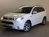 USED 2014 14 MITSUBISHI OUTLANDER 0.0 PHEV GX 4HS 5d AUTO 162 BHP SAT NAV SUNROOF LEATHER ONE OWNER FSH 4WD AUTO. SATELLITE NAVIGATION. SUNROOF. STUNNING WHITE WITH FULL BLACK LEATHER TRIM. ELECTRIC HEATED SEATS. CRUISE CONTROL. 18 INCH ALLOYS. COLOUR CODED TRIMS. PRIVACY GLASS. REVERSING CAMERA. ELECTRIC TAILGATE. AIR CON. R/CD PLAYER. MFSW. MOT 08/18. ONE OWNER FROM NEW. FULL SERVICE HISTORY. FCA FINANCE APPROVED DEALER. TEL 01937 849492