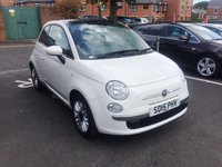 USED 2015 15 FIAT 500 1.2 LOUNGE 3d 69 BHP LOW MILEAGE, PAN ROOF, BLUETOOTH, MEDIA INPUT, ALLOYS, AIR CON, CHEAP TAX, LOW INSURANCE