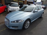 USED 2013 13 JAGUAR XF 2.2 D PREMIUM LUXURY 4d AUTO 200 BHP  CRYSTAL BLUE MET/CHAMPAGNE LEATHER
